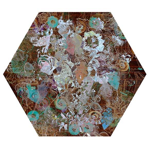 "Nancy Macko, ""Honey Teachings 77Bronze,"" 2015, Archival digital image on panel, 11.5"" diameter."