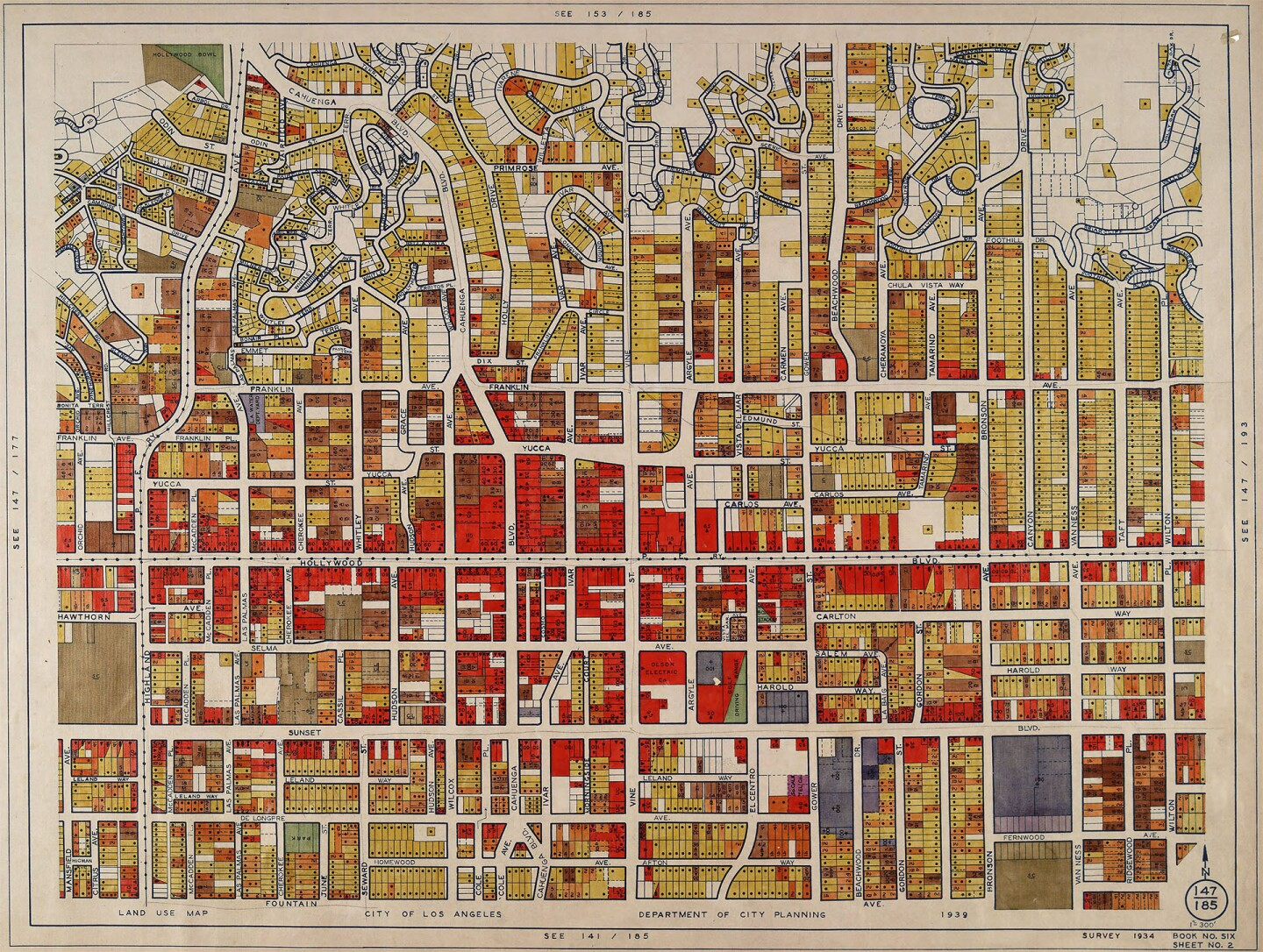 Hollywood District land use survey by the WPA, 1933-1939