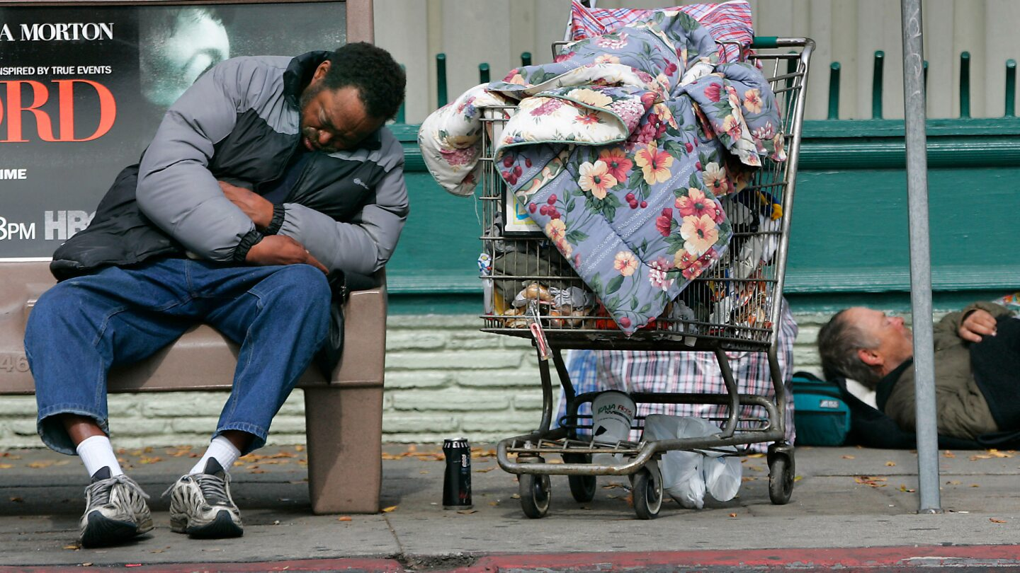 Homeless people on Sunset Blvd. in Hollywood