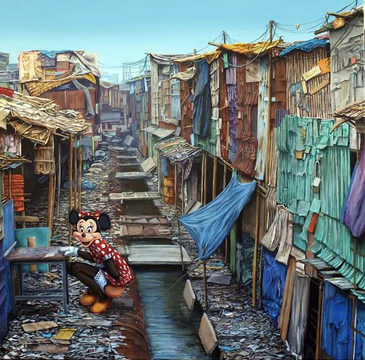 """Jeff Gillette, """"Shadow City Minnie."""" Oil on canvas. 
