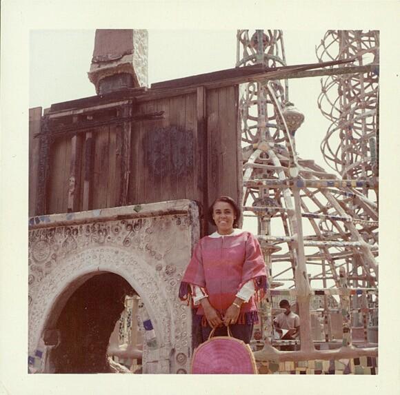 [Click to enlarge] Betye Saar at Watts Tower. Unknown date. Saar Family photograph.