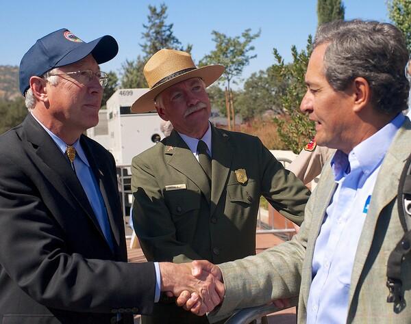 Secretary of the Interior Ken Salazar, National Park Service Director Jon Jarvis, and Robert Garcia   Photo by Sam Garcia/The City Project