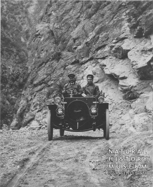 Hamlin is a passenger in the first auto ascent of Mt. Wilson, May 28, 1907.