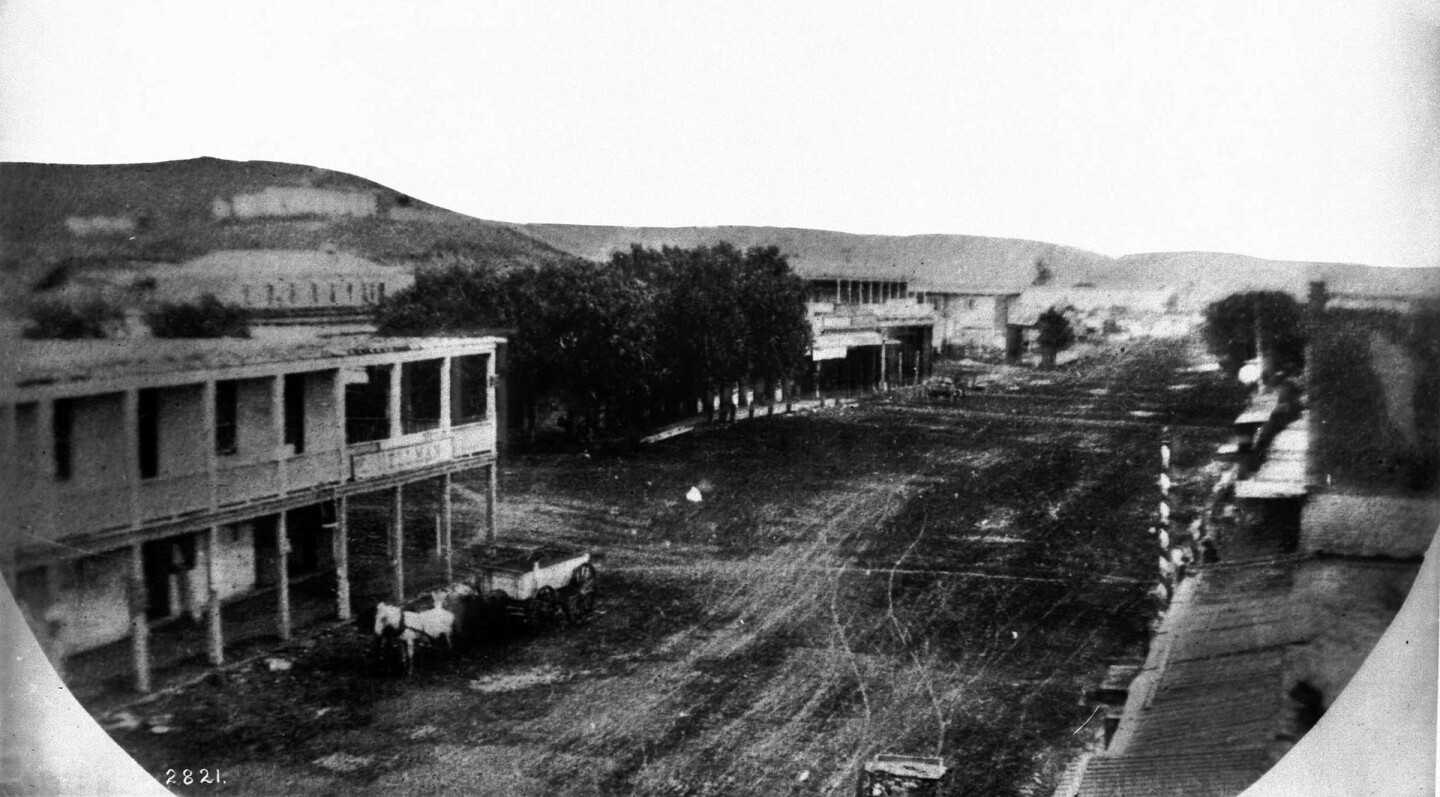 Junction of Main Street, Spring Street, and Temple Street, ca.1863