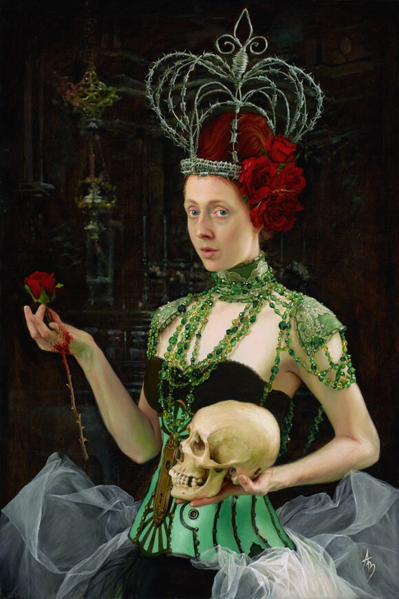 """Alexandra Manukyan, """"Queen of Sorrow,"""" 2012, oil on canvas, 24 x 36 inches."""