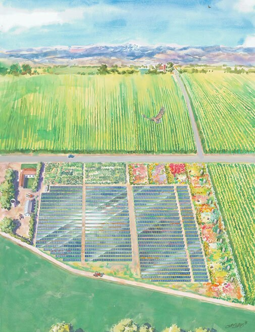 An aerial view of the solar panels at Jack's Solar Garden. | Artwork courtesy of Jack's Solar Garden by artist Jeff Slemons