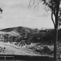 Panoramic view of the community of Chavez Ravine, circa 1952. Photo by Leonard Nadel, courtesy of the Photo Collection, Los Angeles Public Library.