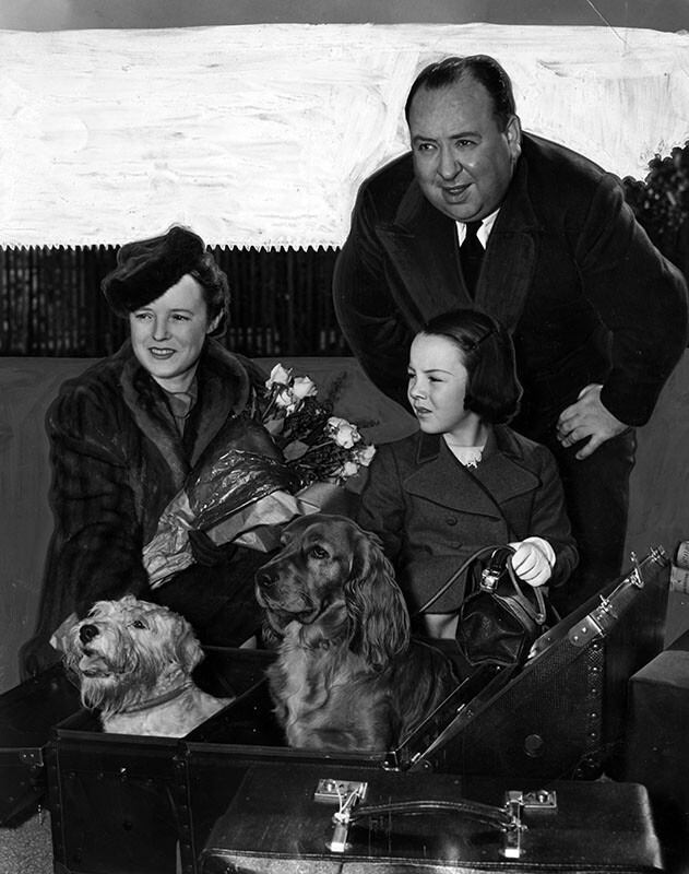 Hitchcock and family upon their arrival in Los Angeles in 1939