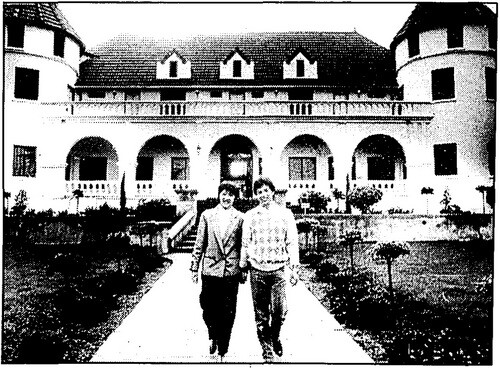 Eva Hu and her husband Todd Hsu at the castle. Hu's uncle Cris C. Y. Yip purchased the property for $585,000 in 1985 | Los Angeles Times, December 19, 1985