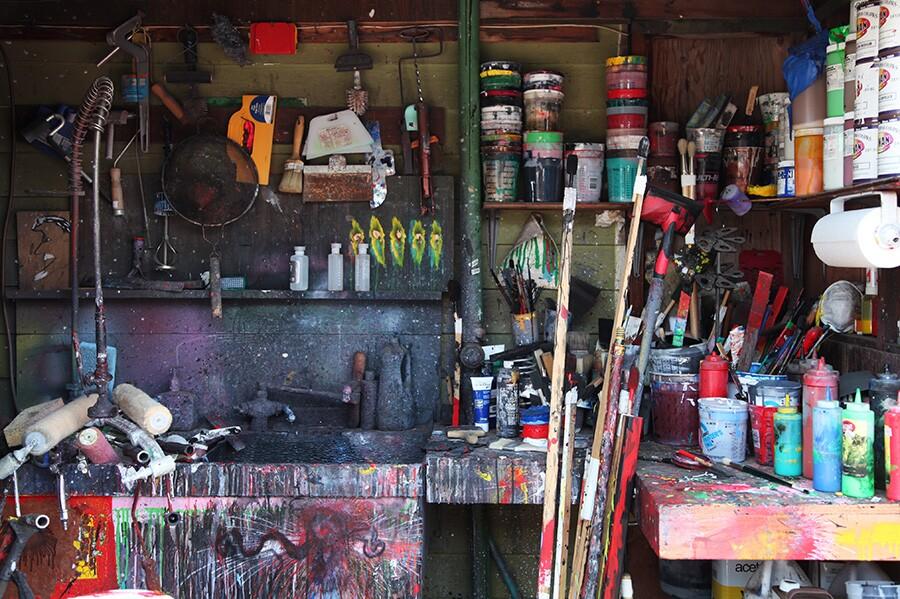Art supplies storage at Ed Moses' Venice home. | Photo: Drew Tewksbury.