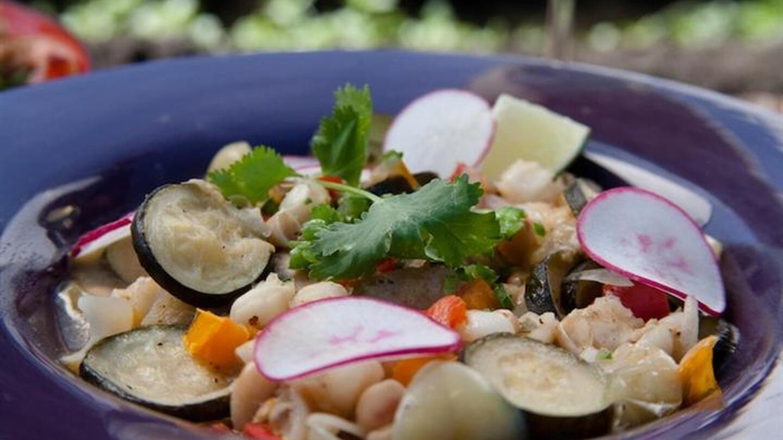 A colorful Latin American food dish.