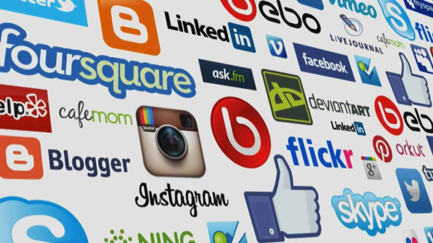 """A collage of online and social media logos. 