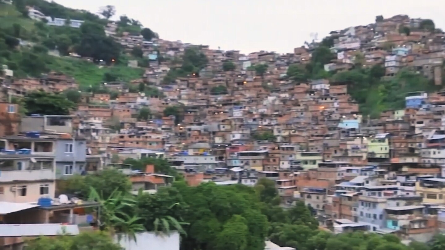 An aerial view of a favela in Brazil.