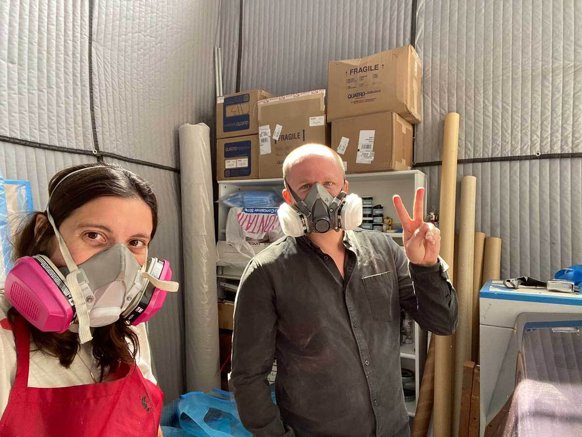 Makers Analia Saban and Curime during one of their working sessions prototyping in Los Angeles | Analia Saban