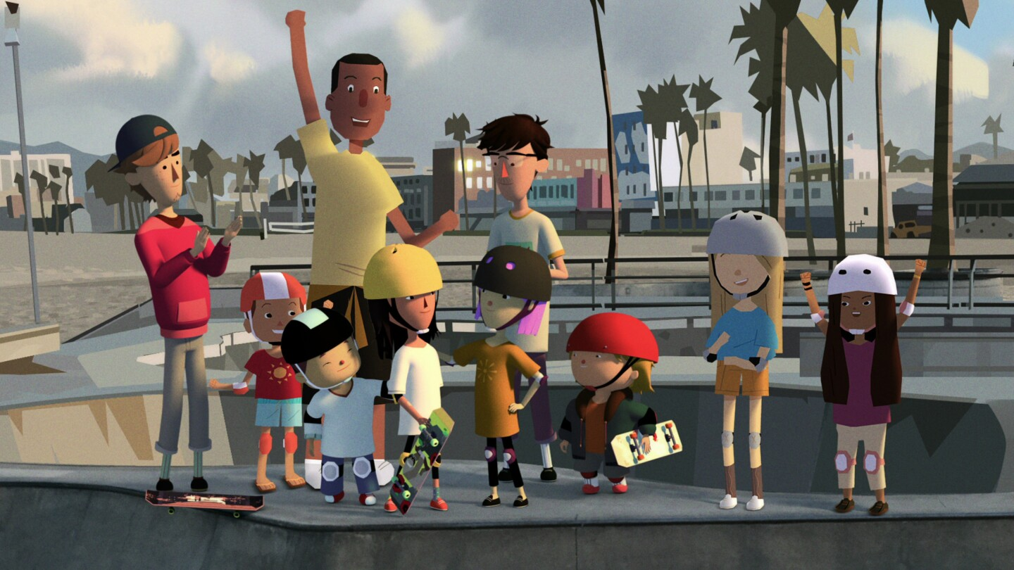 """A still from Elizabeth Ito's animated series """"City of Ghosts"""" depicts a group of children with one adult standing at a skate park. Most of the children are wearing helmets and holding skateboards with an excited expression on their faces."""