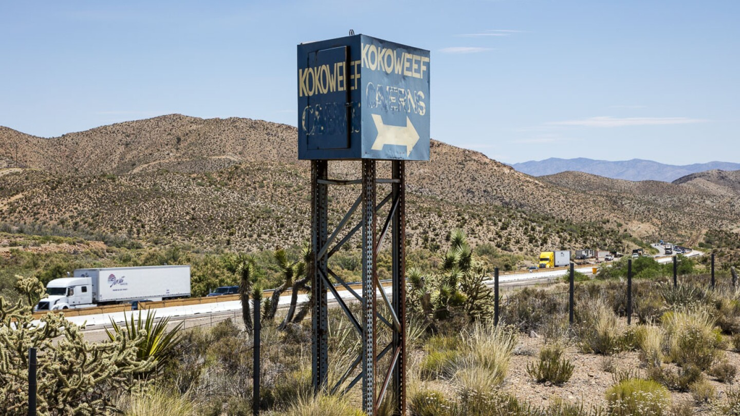 The Kokoweef beacon at Mountain Pass on I-15 that continues to lure tourists and treasure seekers to the famed mine. | Photo: Kim Stringfellow.