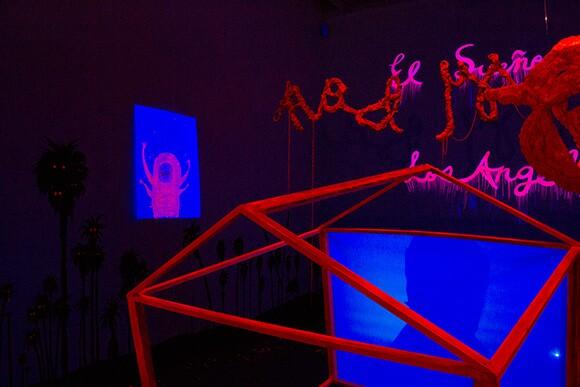 "Yujun Ye, ""El Sueño de Los Angeles,"" 2014 (detail). Mixed media installation, video, foam, wood. | Photo by Alex Drost"
