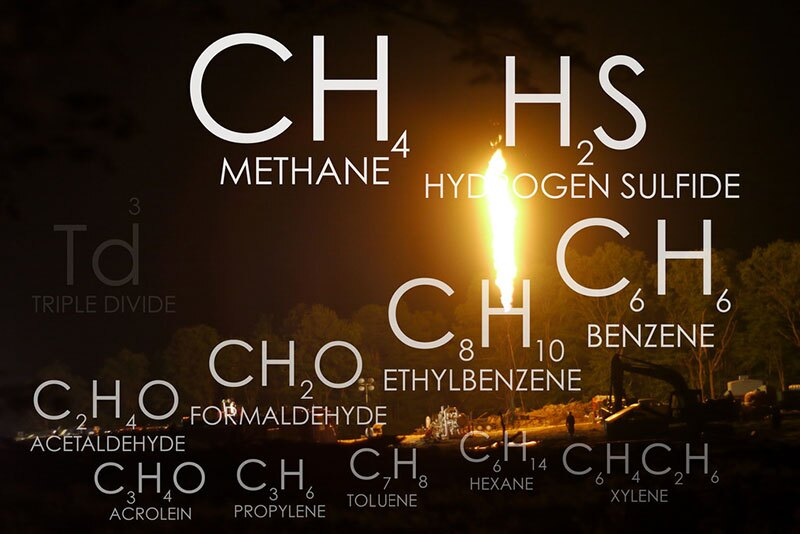 Methane flaring and its resulting pollutants   Image: Public Herald, some rights reserved