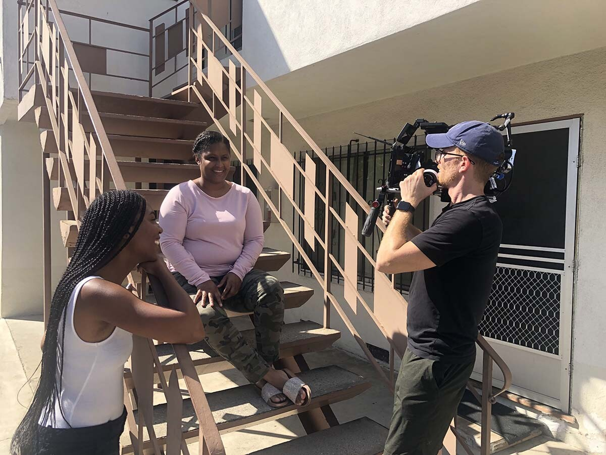 """Allison Waite and her crew filming """"The Dope Years: The Story of Latasha Harlins."""" 