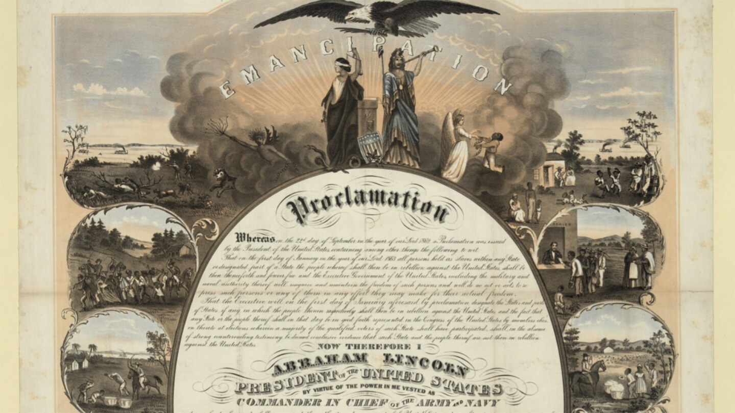 A commemorative print of the Emancipation Proclamation