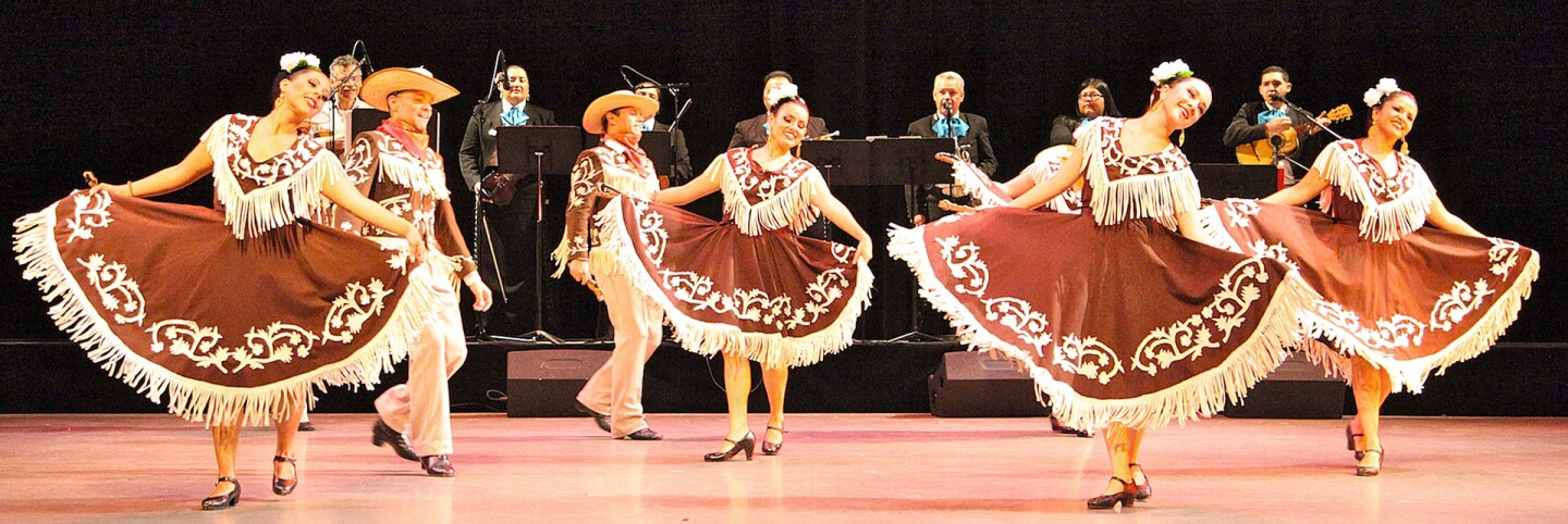 A Cinco de Mayo performance at the Cerritos Center for the Performing Arts.  The dancers are performing a dance from the Mexican region of Tamaulipas. | Courtesy of Danza Floricanto