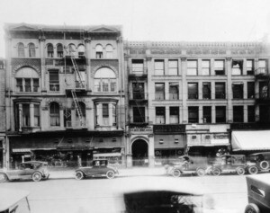 Copp Building (left) was the first home for CAC. Photo courtesy LAPL Photo Library Collection