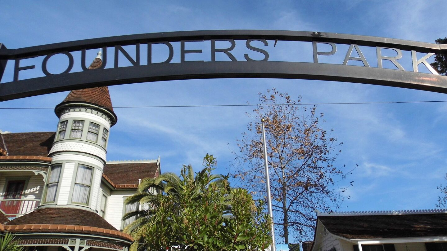 """Picture of a sign that says """"Founder's Park."""""""