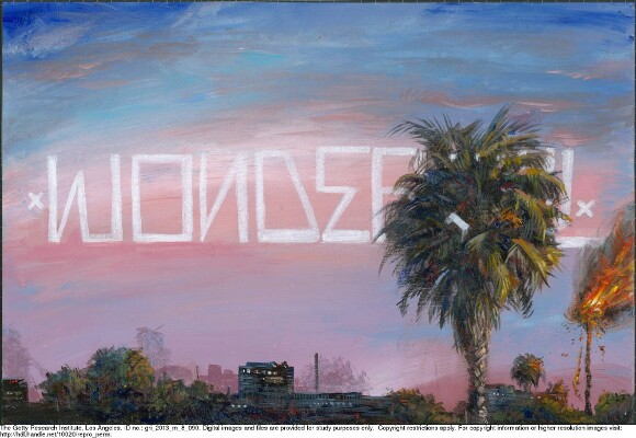 "Partrick Martinez uses type and palm trees as Los Angeles emblems in ""L.A. Liber Amicorum."" 