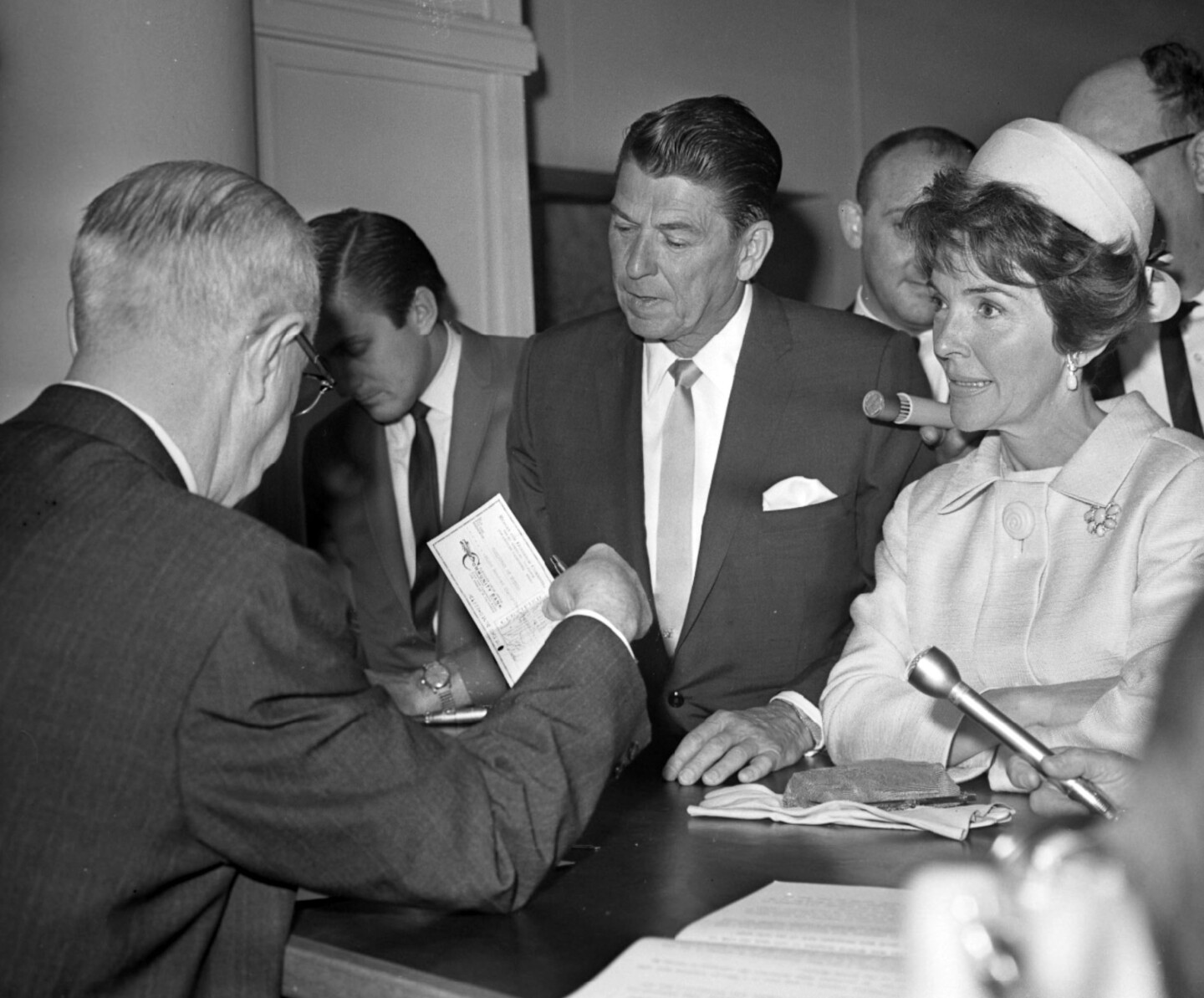 Ronald Reagan with his wife Nancy, filing the papers to run for governor in 1966.