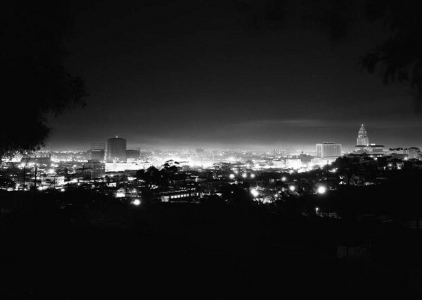 The Downtown Los Angeles skyline as seen from Mount Lookout in 1951. Courtesy of the USC Libraries - Los Angeles Examiner Collection.