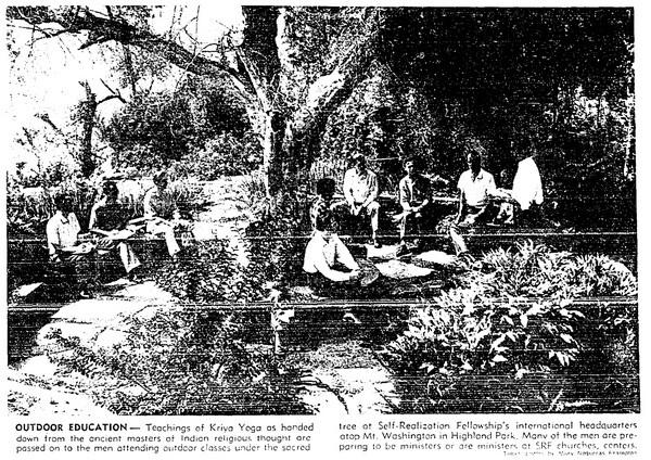 ''Yoga follows find serenity atop Mount Washington'' | Los Angeles Times, September 7, 1958