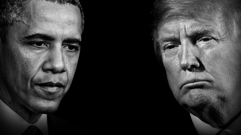 Portraits of Barack Obama and Donald Trump.
