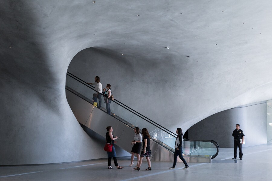 The Broad's lobby with escalator. | Photo: Iwan Baan, courtesy of The Broad and Diller Scofidio + Renfro.