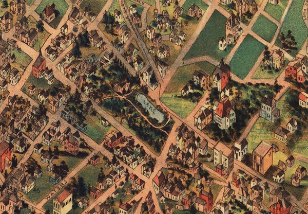 Second Street Park appears in the center of this detail from an 1891 map, courtesy of the Library of Congress. Note that north points toward the bottom of the map.