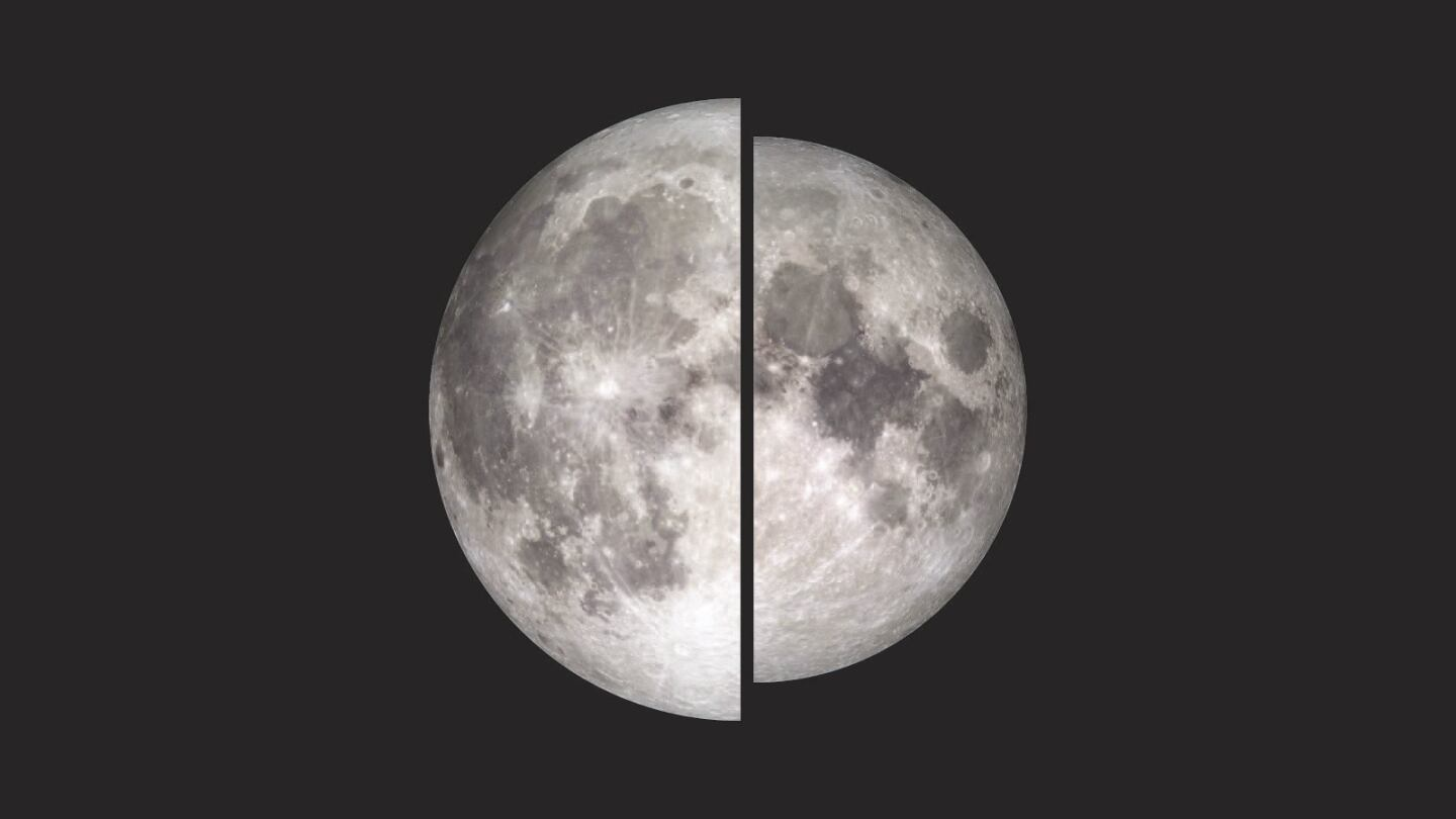 An image of the moon illustrate the difference in the apparent size and brightness of the moon during a supermoon.