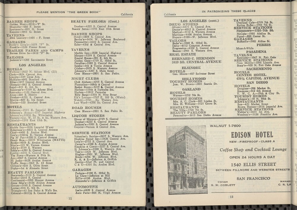 Los Angeles listings in the 1949 edition of 'The Green Book'