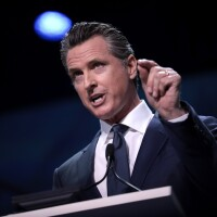 California Governor Gavin Newsom at podium