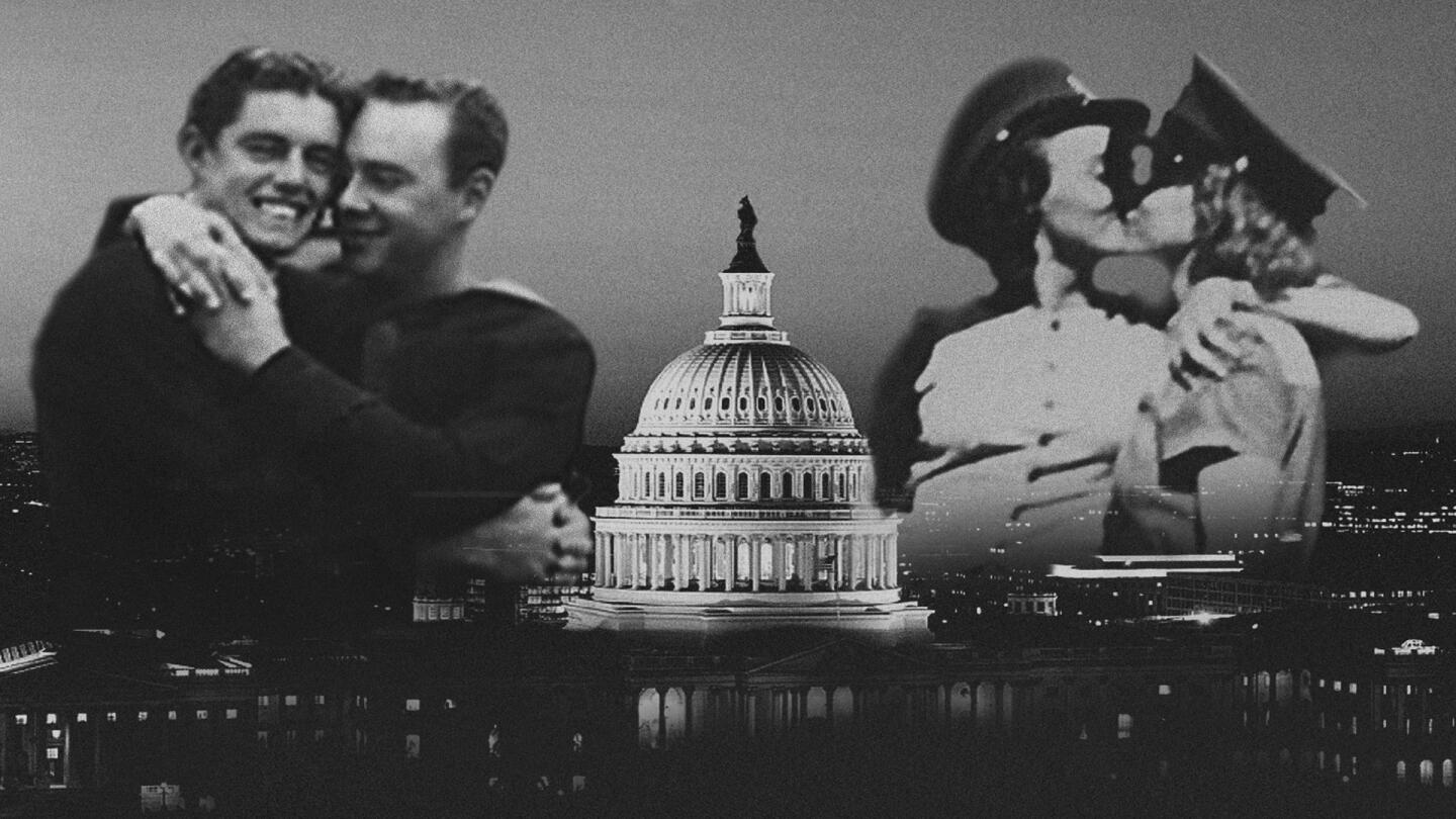 Images of gay couples embracing and kissing overlaid on a photo of the U.S. Capitol.