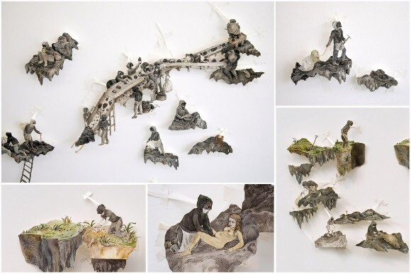 """[Click to enlarge] Candice Lin, """"Wigan Pit Brow Women"""" (details), 2006-2012, ink and watercolor on cut and hinged paper, dimensions variable."""