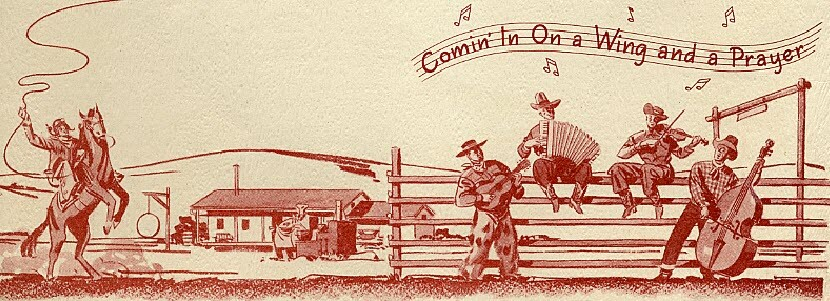 A drawing by Harry Bennett of a man on a horse waving his lasso and some farmers and cowboys play on various instruments.