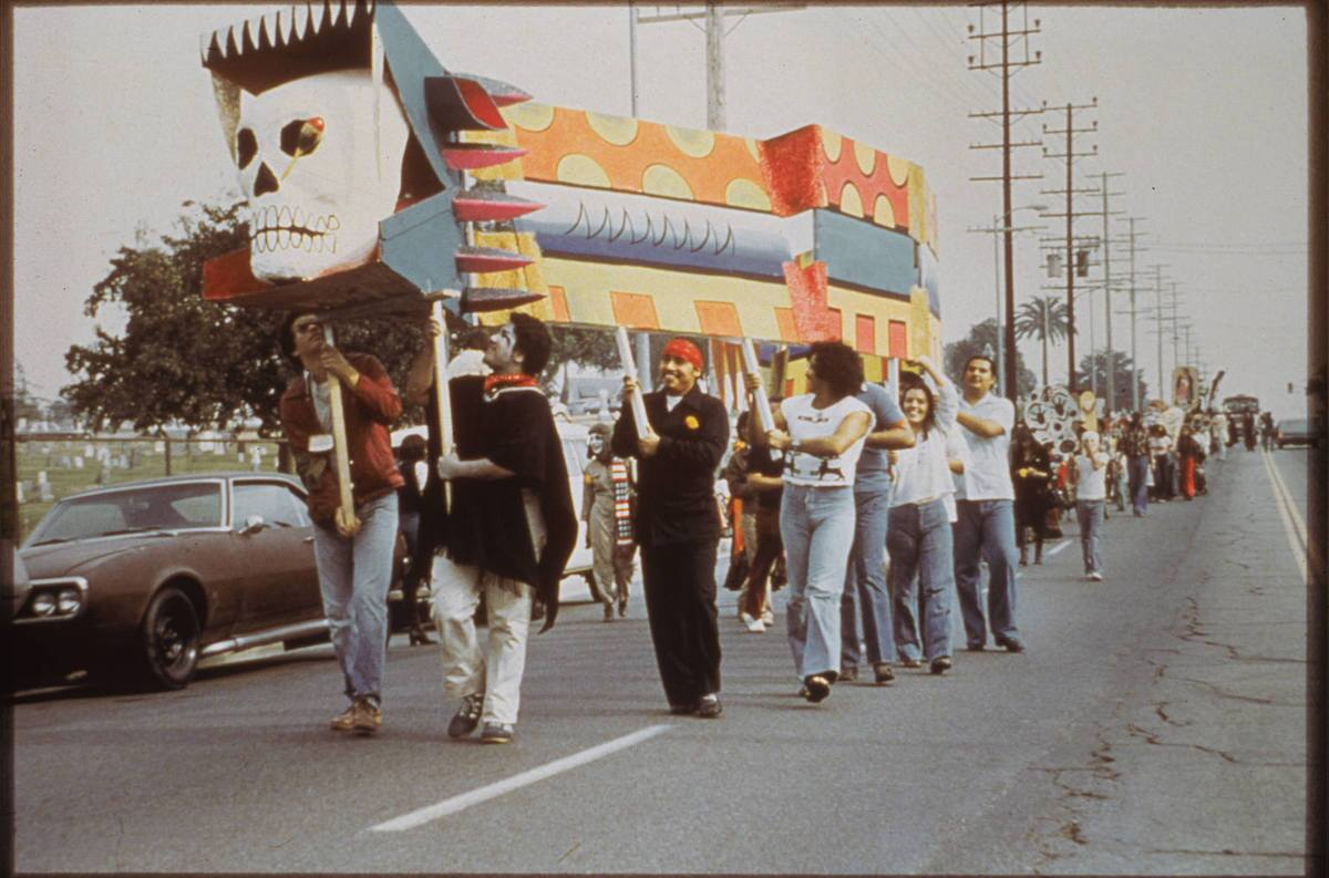 Early memories of Self Help Graphics include its legendary procession from Evergreen Cemetery to the location of the celebration in 1978 | Courtesy of Self Help Graphics & Art