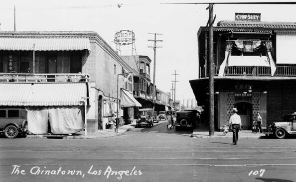 The intersection of Alameda and Marchessault Street, in the heart of Old Chinatown. | Courtesy of the Los Angeles Public Library