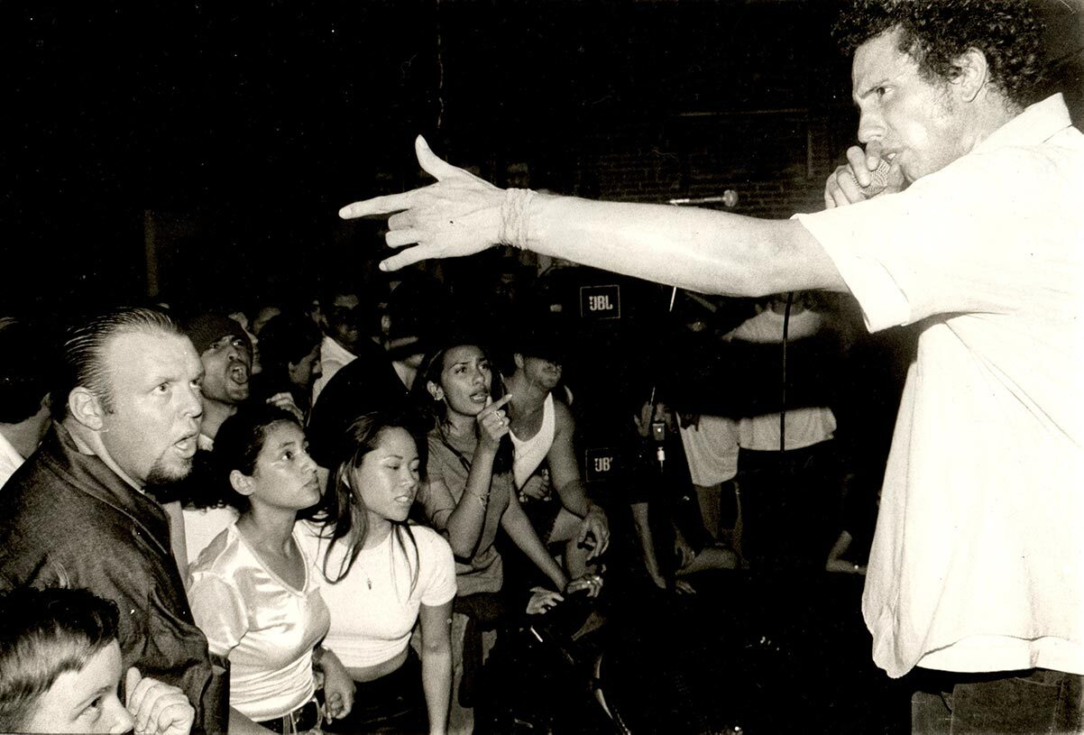 Zack de la Rocha and Rage Against the Machine Performing at In The Red: An Observance of Human Rights, Regeneracion / Popular Resource Center, 1995   Antonio Garcia