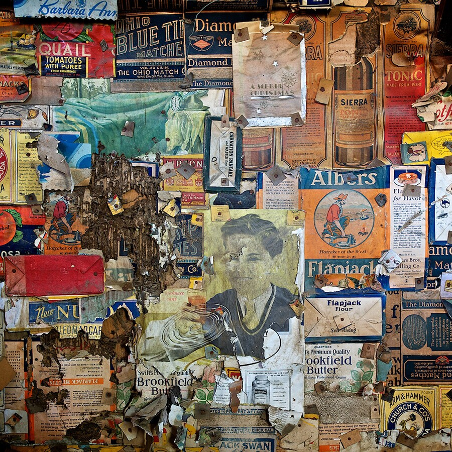 Detail: Wallpaper Collage Secured with Cardboard Washers, 'Burro' Schmidt Cabin, 2011 | Photo: Osceola Refetoff