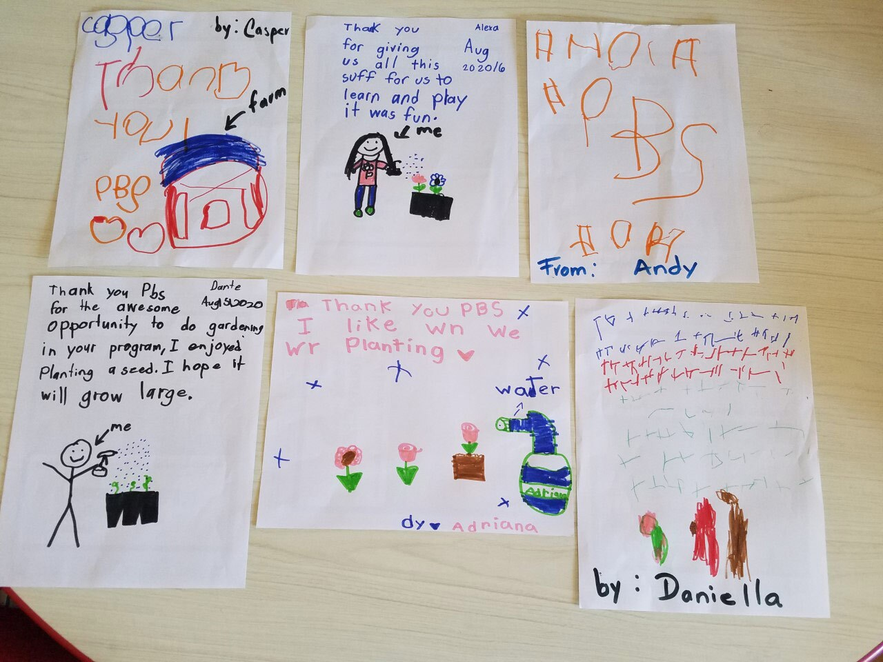Children wrote thank you notes to PSB SoCal after the conclusion of the early math and science pilot hybrid program.
