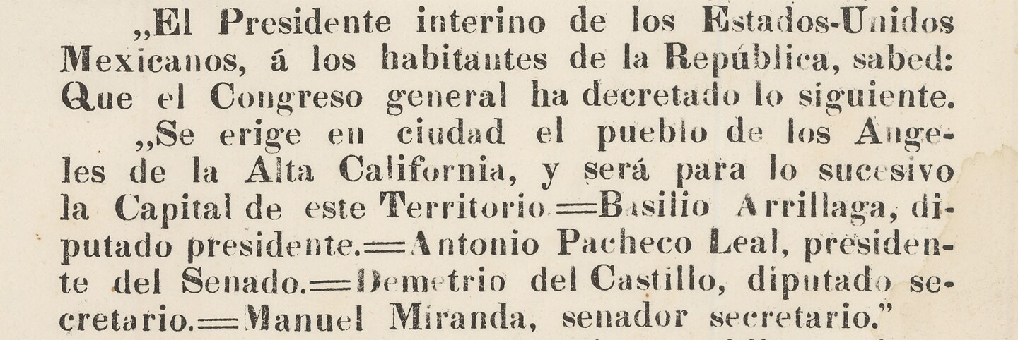 1835 decree making Los Angeles the capital of Alta California (cropped for header)