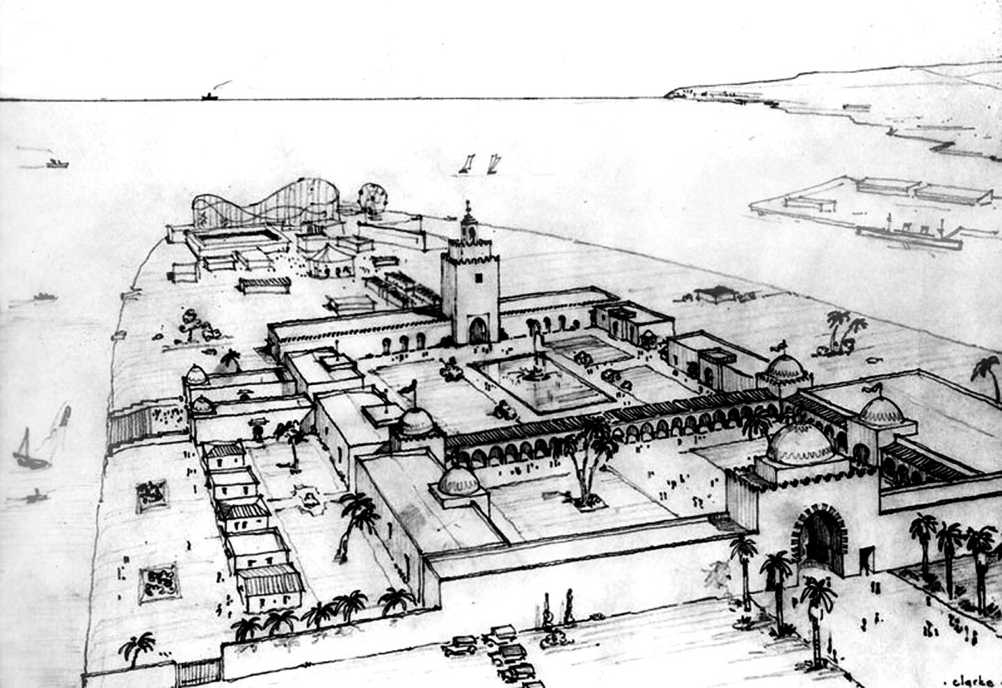 Plan. This sketch shows the exposition's domed entry gate, its two central courtyards, and the long arcade between them. Photograph courtesy of Security Pacific National Bank Collection, Los Angeles Public Library
