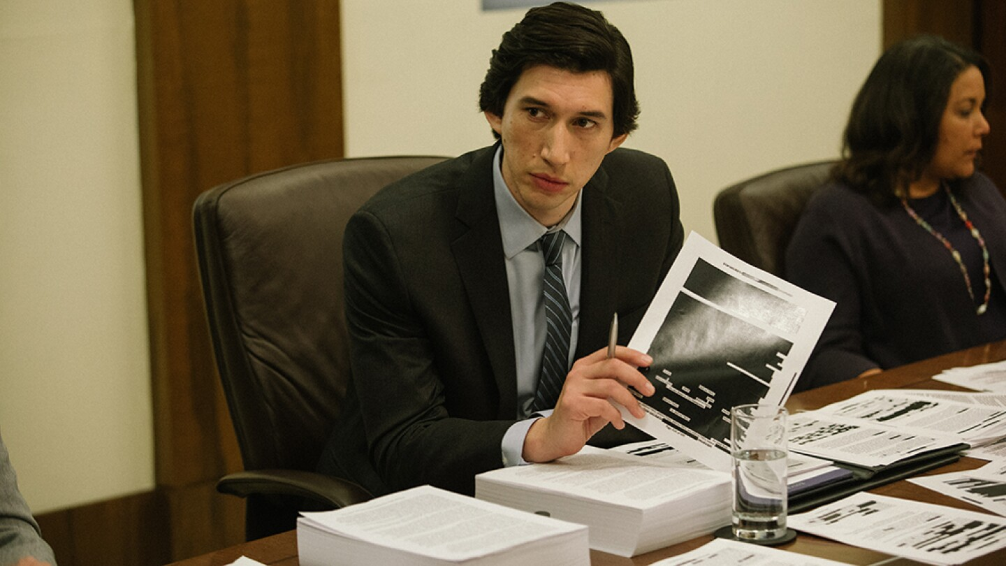 """Adam Driver at a desk, from """"The Report"""""""