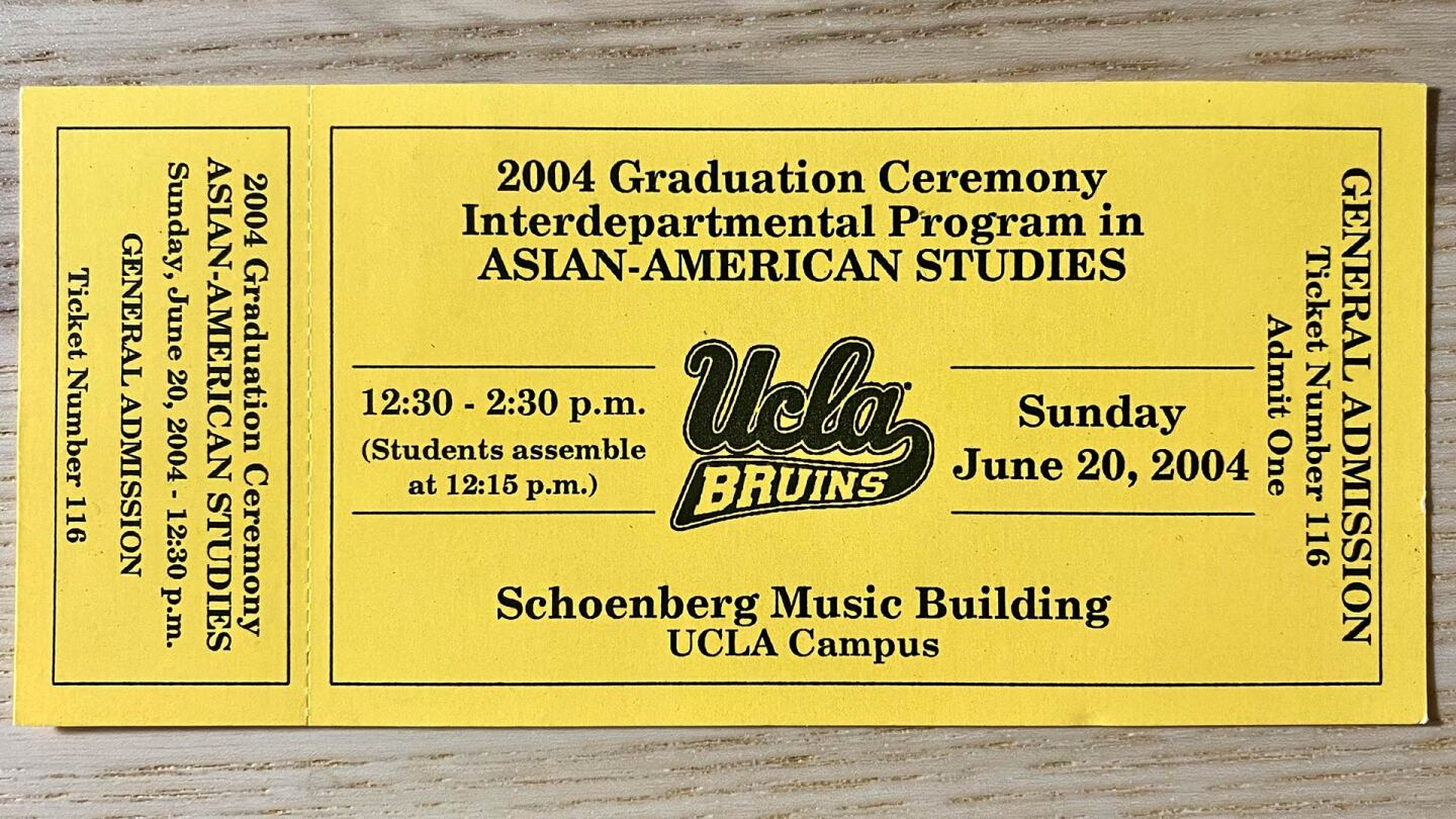 A 2004 graduation ticket stub from UCLA's Interdepartmental Program in Asian American Studies