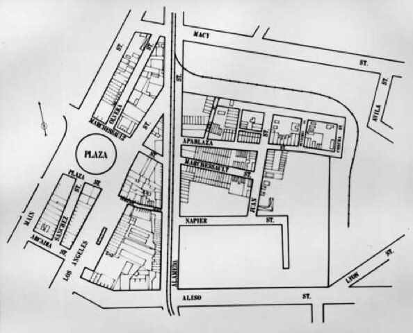 Map of Old Chinatown along Alameda Street, prior to the construction of Union Station.   Courtesy of the Los Angeles Public Library